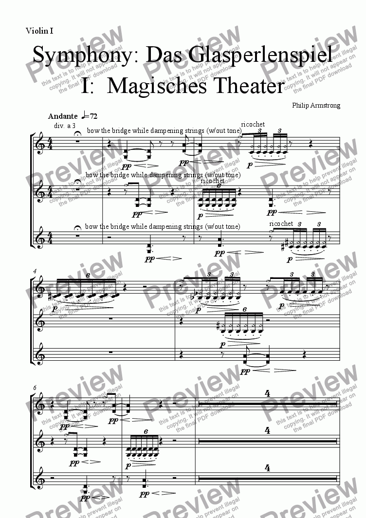 page one of the Violin 1 part from Symphony Das Glasperlenspiel Movement 1