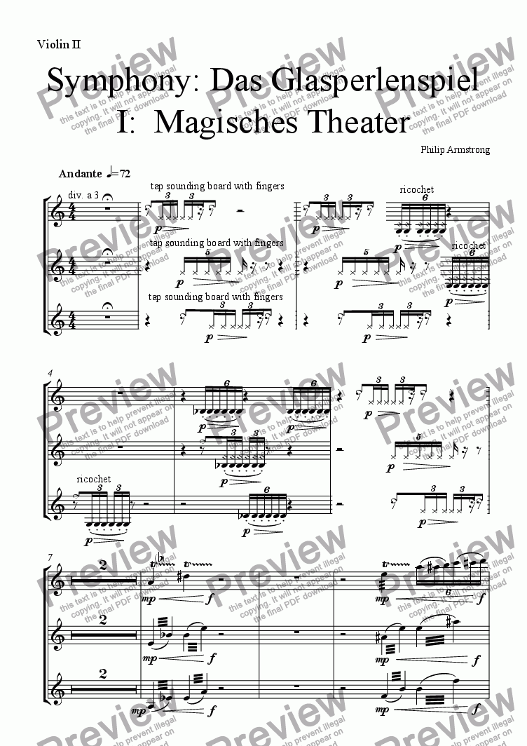 page one of the Violin 2 part from Symphony Das Glasperlenspiel Movement 1
