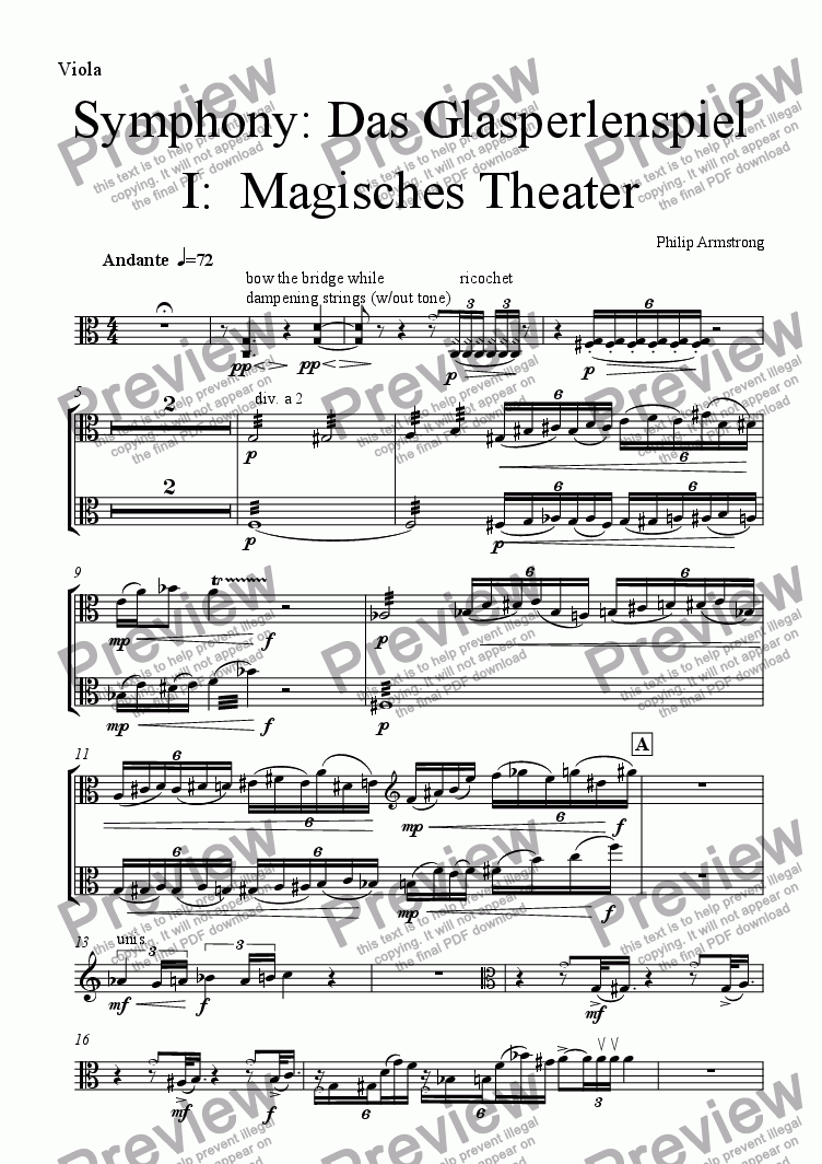 page one of the Viola part from Symphony Das Glasperlenspiel Movement 1