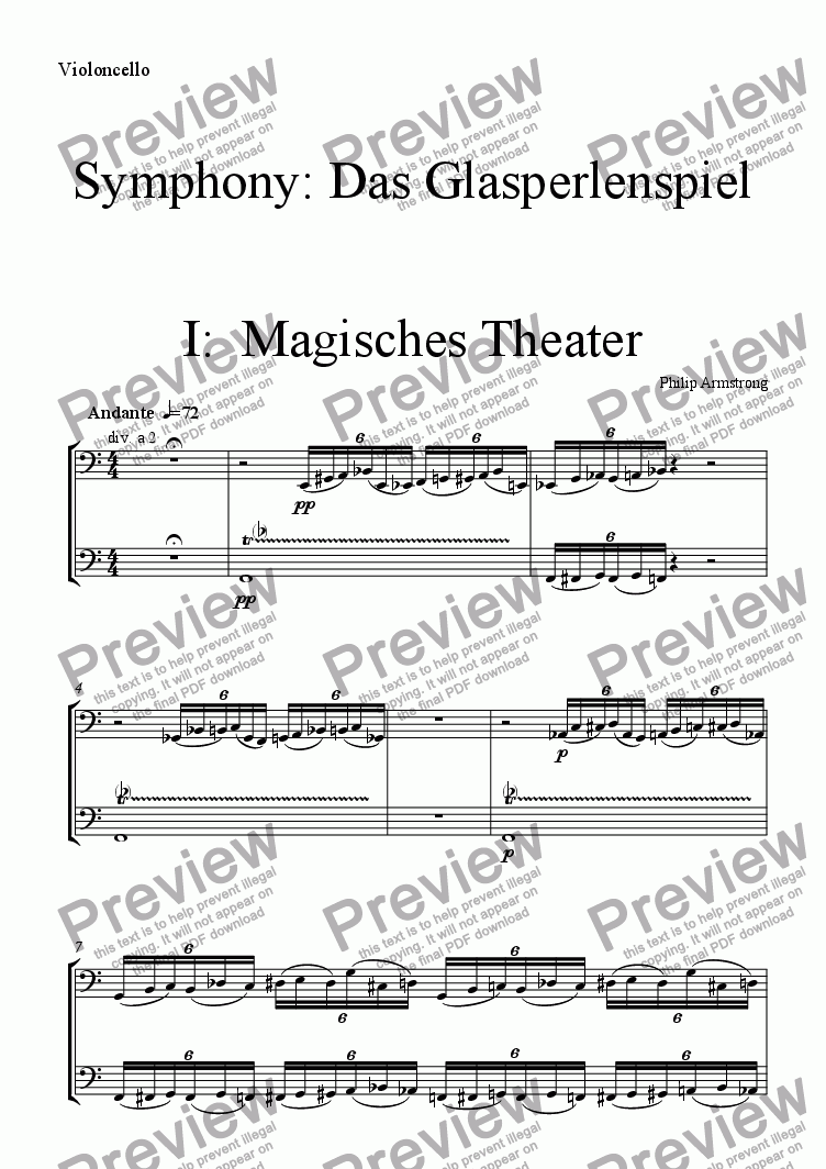 page one of the Violoncello part from Symphony Das Glasperlenspiel Movement 1