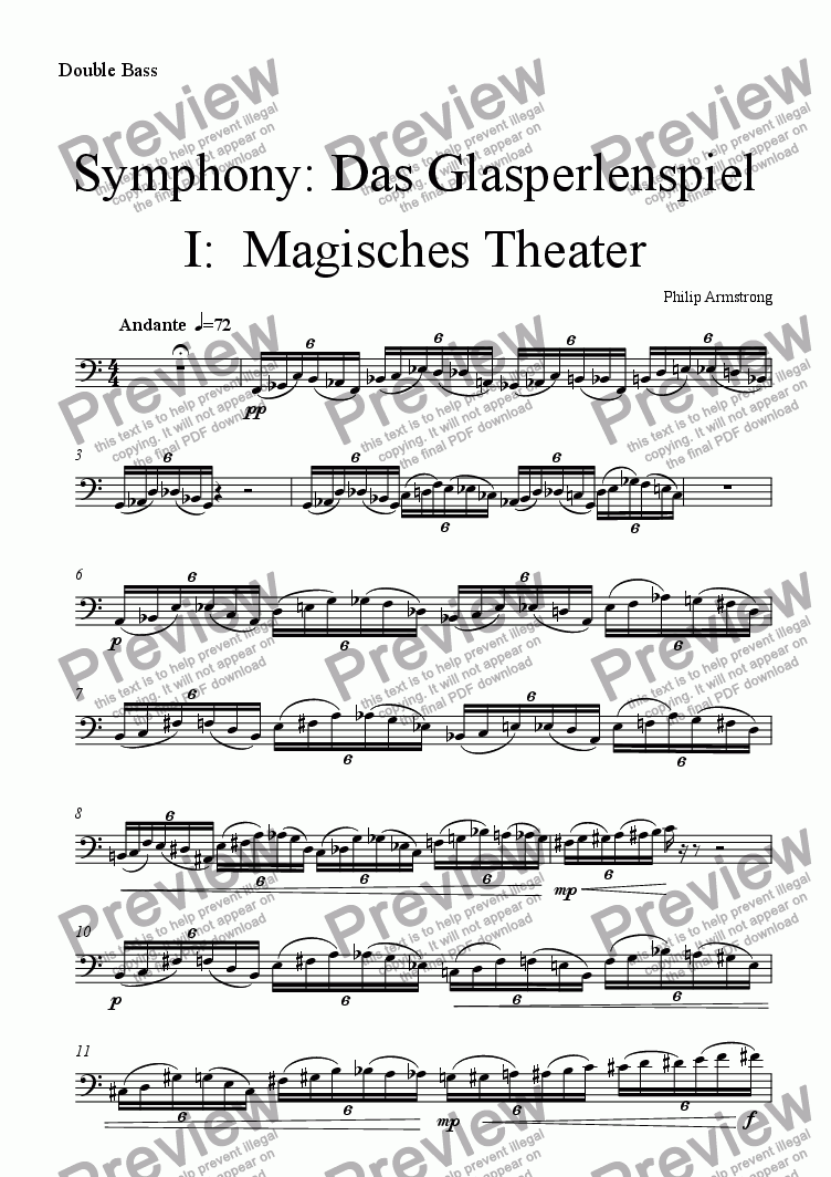 page one of the Double Bass part from Symphony Das Glasperlenspiel Movement 1