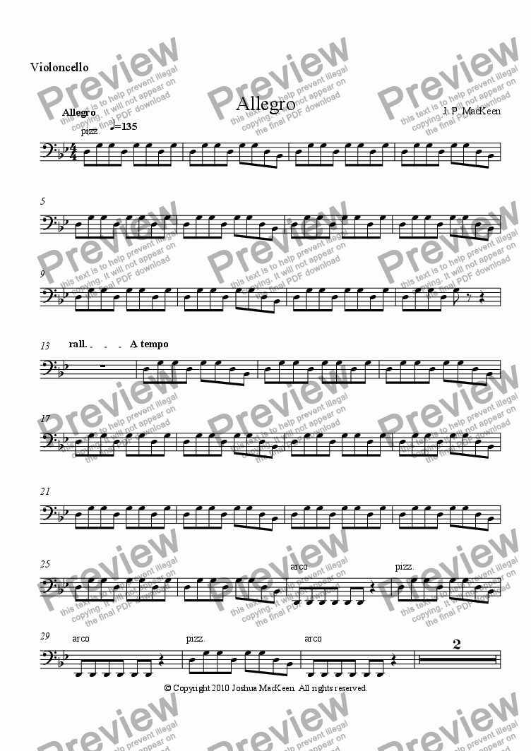 page one of the Violoncello part from Foreign Dance Suite, Movement One, Allegro
