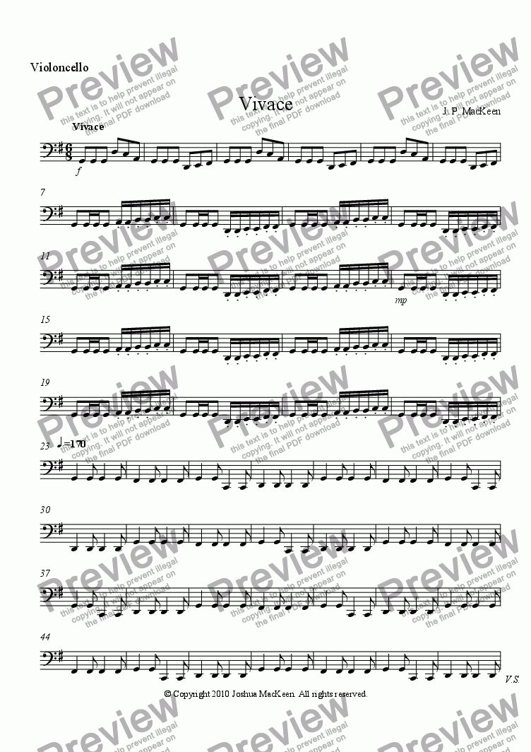 page one of the Violoncello part from Foreign Dance Suite, Movement Four, Vivace