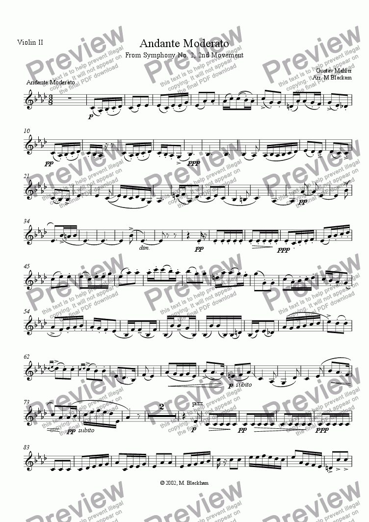 page one of the Violin II part from Andante Moderato