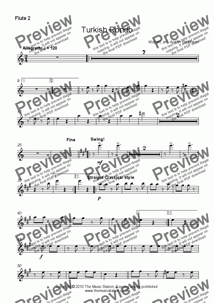 page one of the Flute 2 part from Turkish Rondo - flute choir