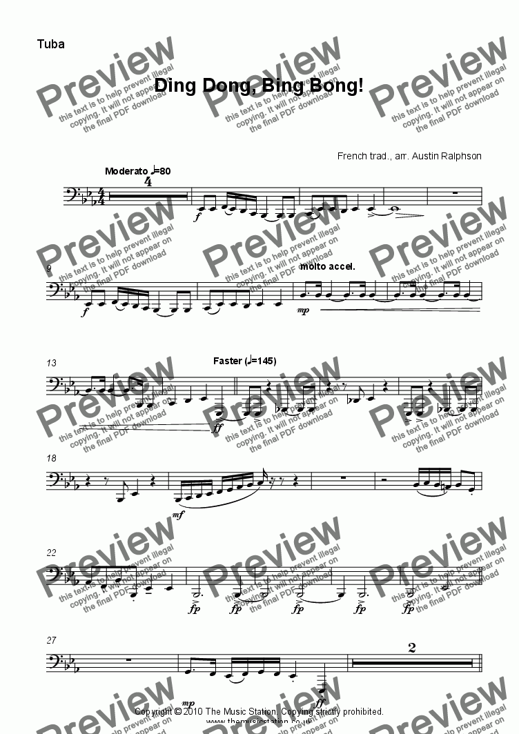 page one of the Tuba in C part from Ding Dong, Bing Bong! - brass quintet