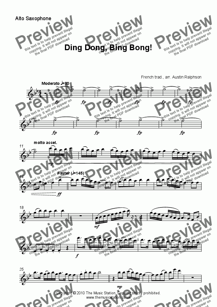 page one of the Alto Saxophone part from Ding Dong, Bing Bong! - sax quintet