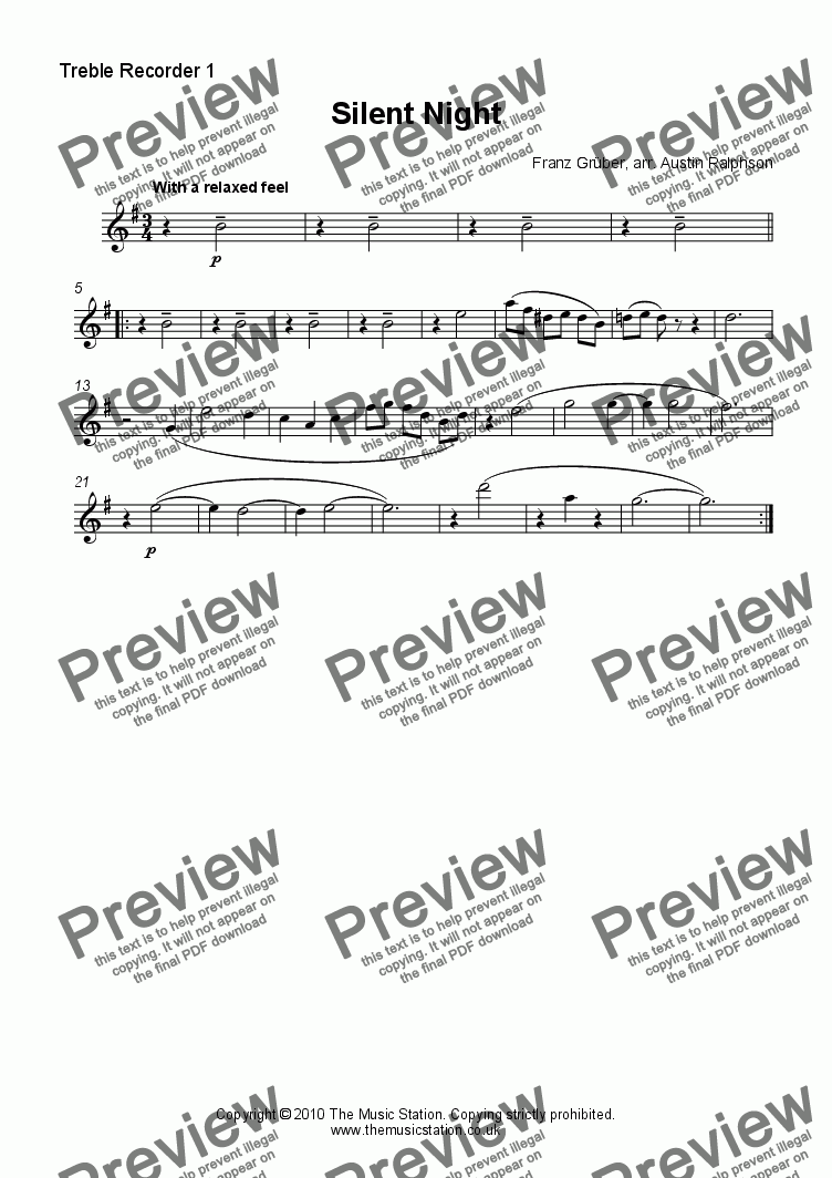 page one of the Treble Recorder 1 part from Silent Night - recorder quintet