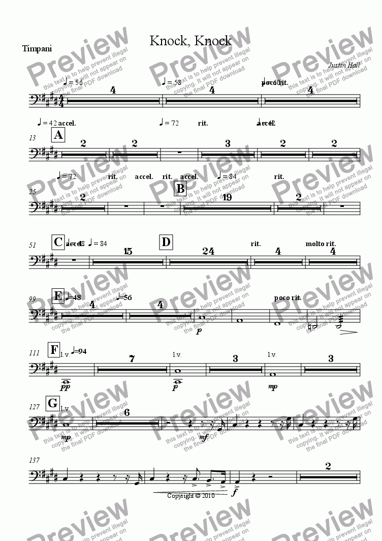 page one of the Timpani part from Knock, Knock