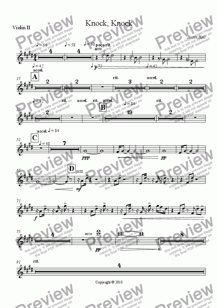 page one of the Violin II part from Knock, Knock
