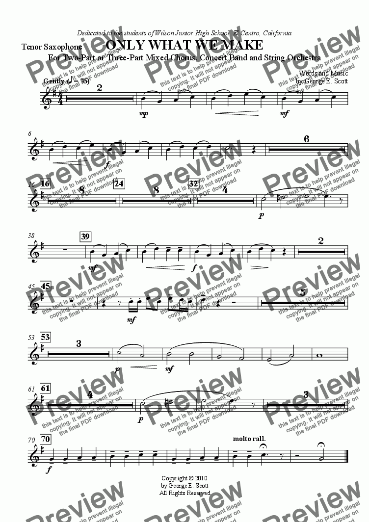 page one of the Tenor Sax part from Only What We Make (Grade 2 Concert Band, String Orch. and 2- or 3-part Chorus)