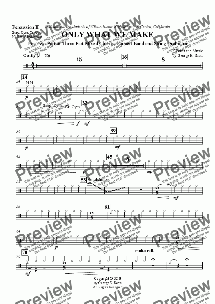 page one of the Percussion II part from Only What We Make (Grade 2 Concert Band, String Orch. and 2- or 3-part Chorus)