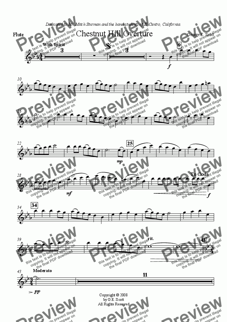 page one of the Flute part from Chestnut Hill Overture (Grade 1.5 Concert Band)