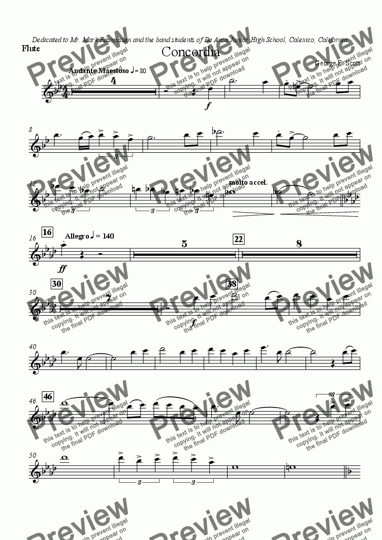 page one of the Flute part from Concordia (Grade 2 Concert Band)