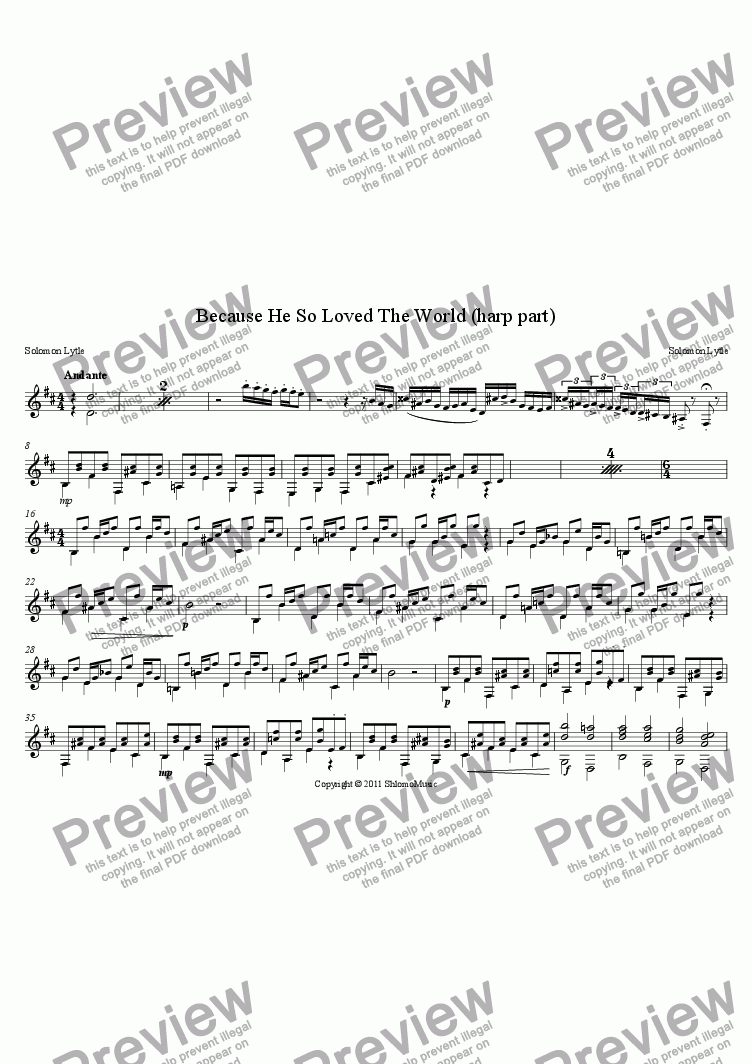 page one of the Harp part from Because He So Loved The World
