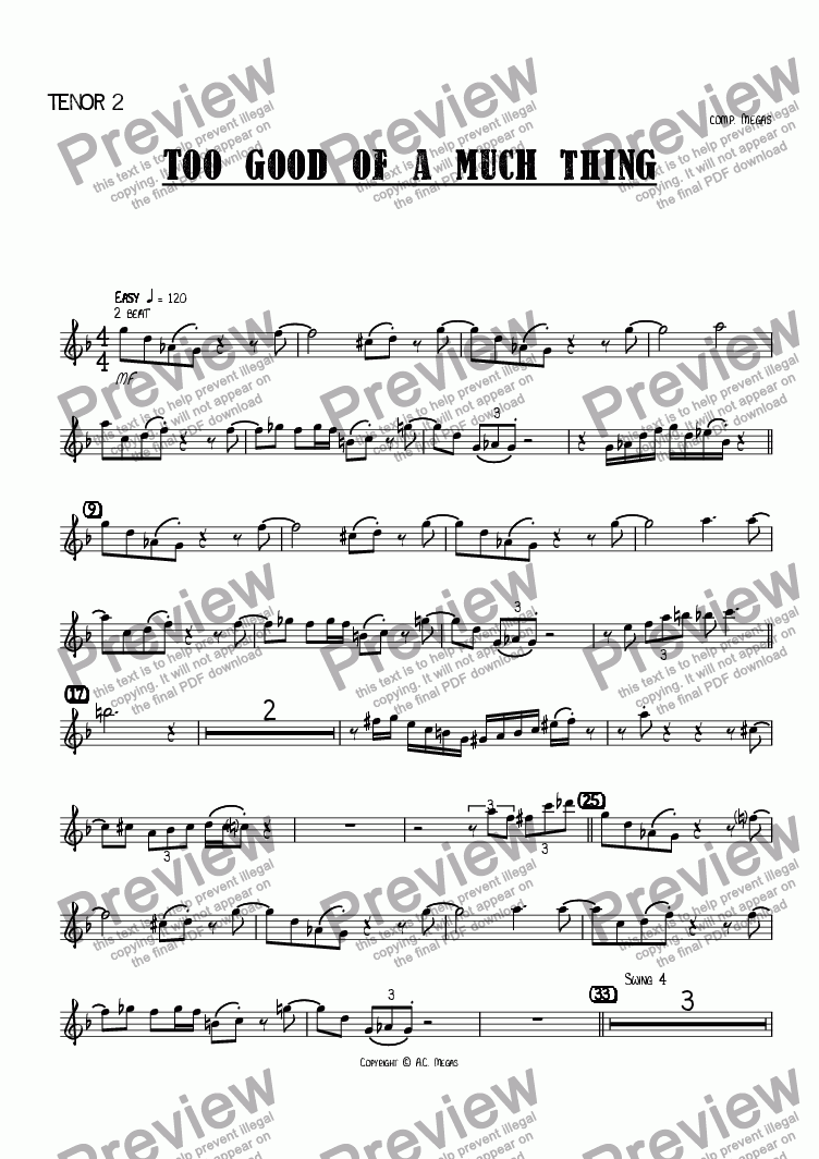 page one of the Tenor 2 part from Too Good of a Much Thing