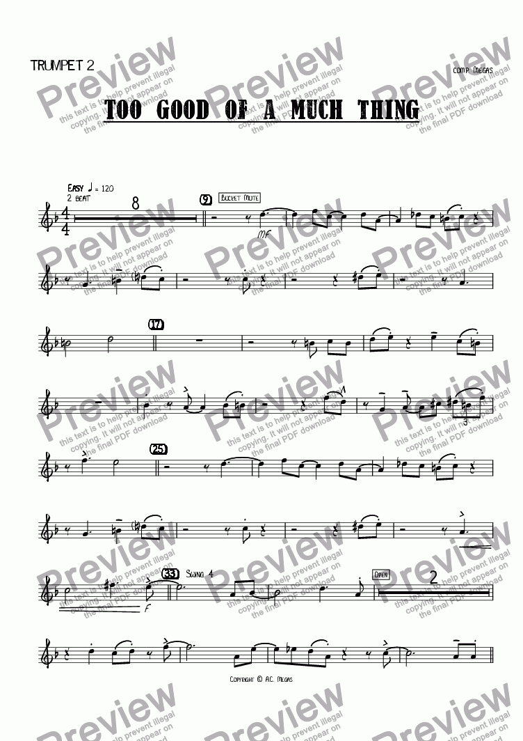 page one of the Trumpet 2 part from Too Good of a Much Thing
