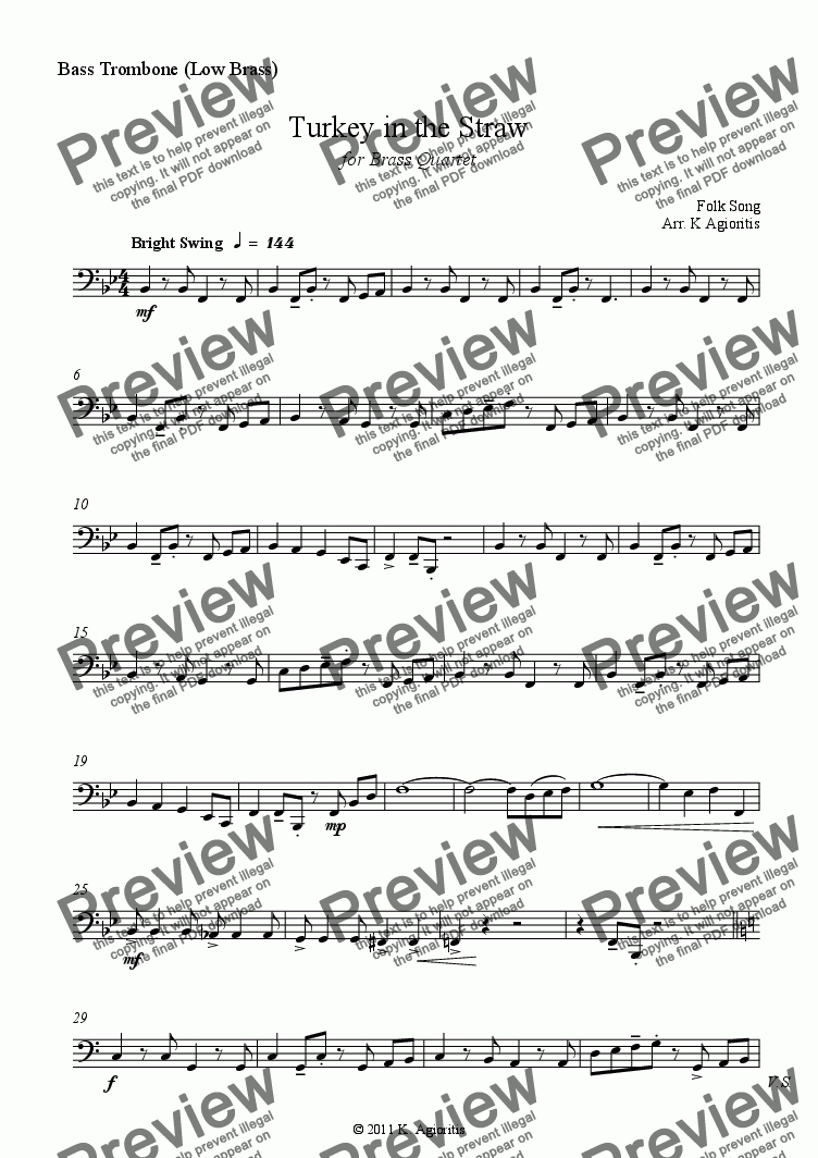 page one of the Low Brass part from Turkey in the Straw - Jazz Arrangement for Brass Quartet