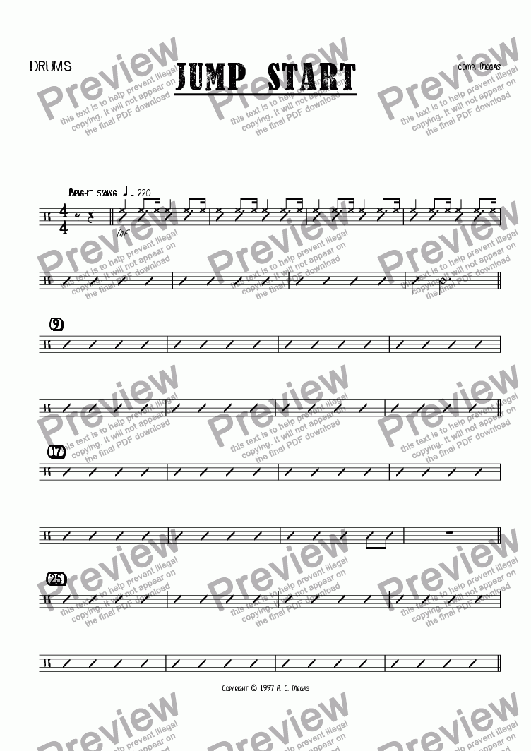 page one of the Drums part from Jump Start