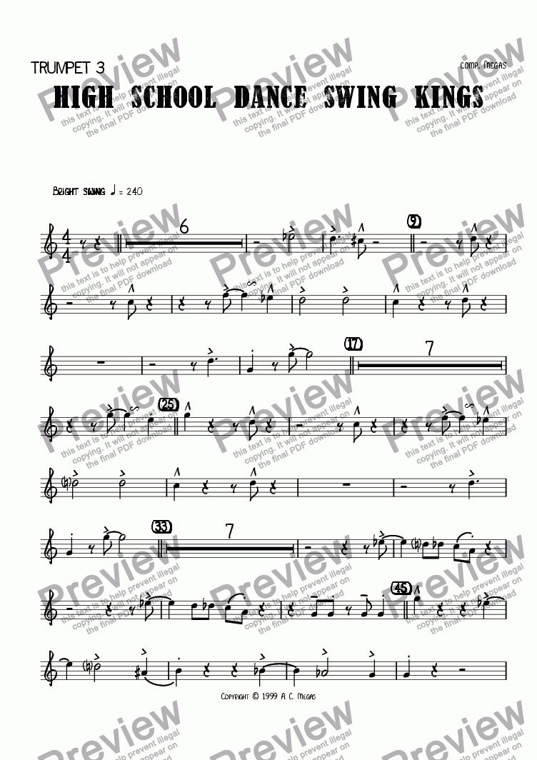 page one of the Trumpet 3 part from High School Dance Swing Kings