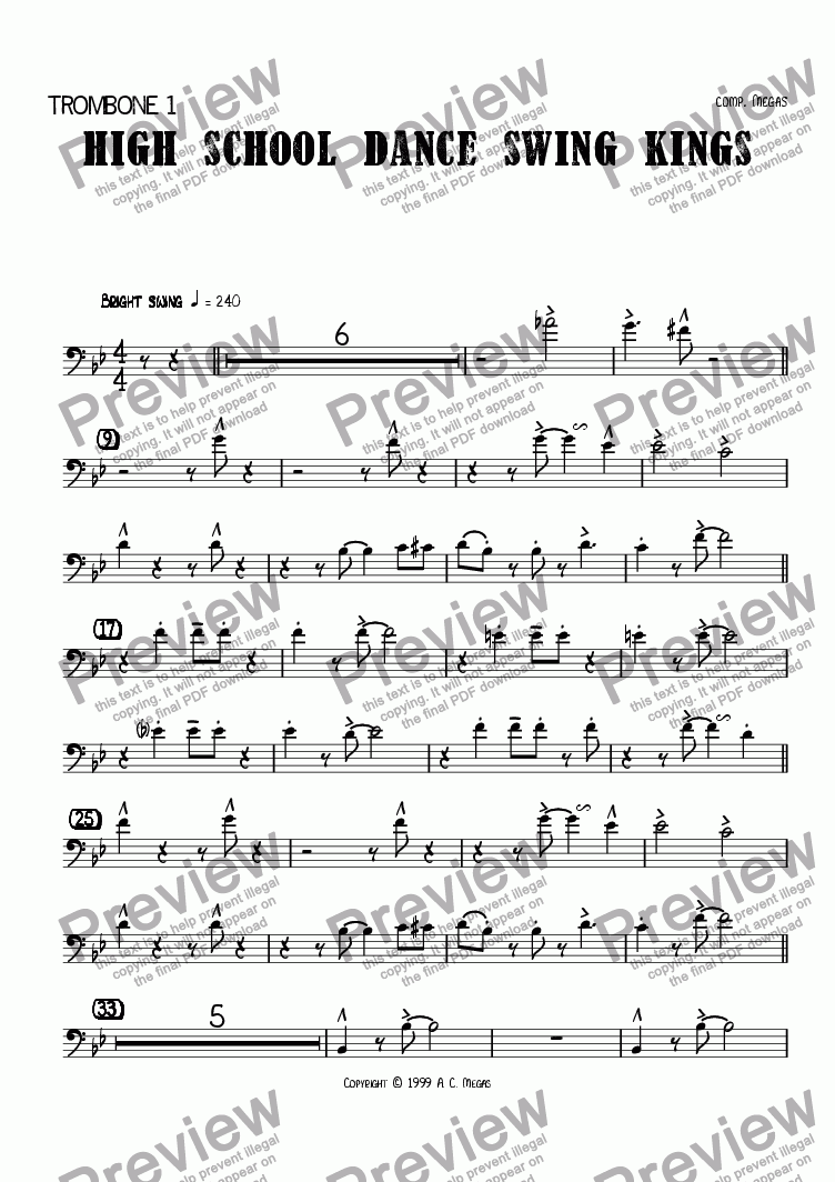 page one of the Trombone 1 part from High School Dance Swing Kings