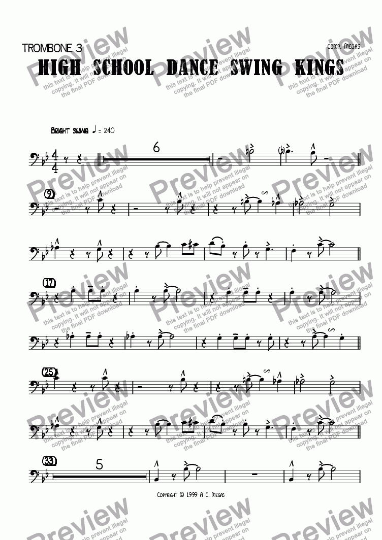 page one of the Trombone 3 part from High School Dance Swing Kings