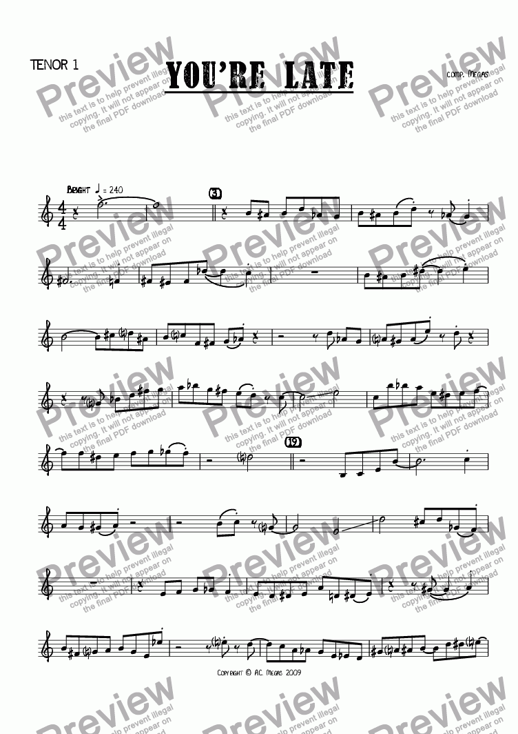 page one of the Tenor 1 part from You're Late