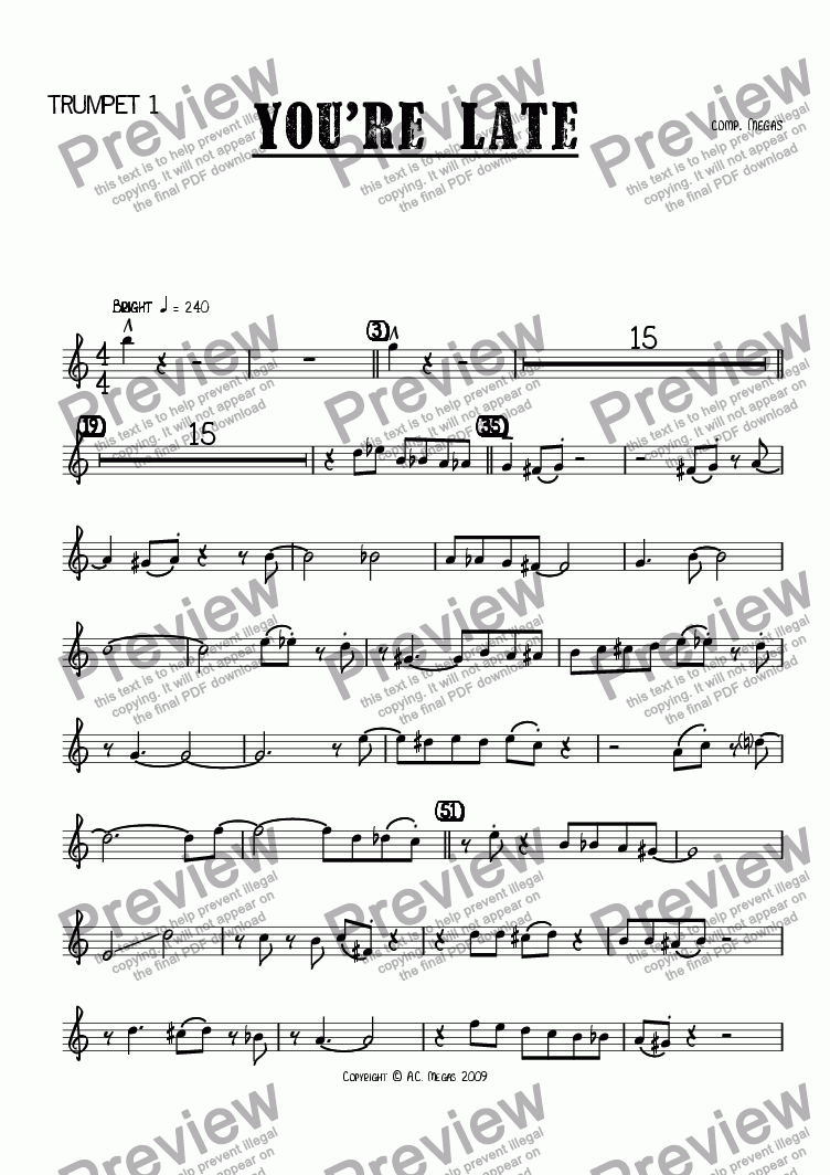page one of the Trumpet 1 part from You're Late