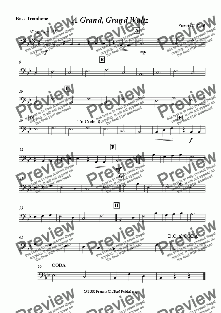page one of the Bass Trombone part from A Grand, Grand Waltz (Brass Band)
