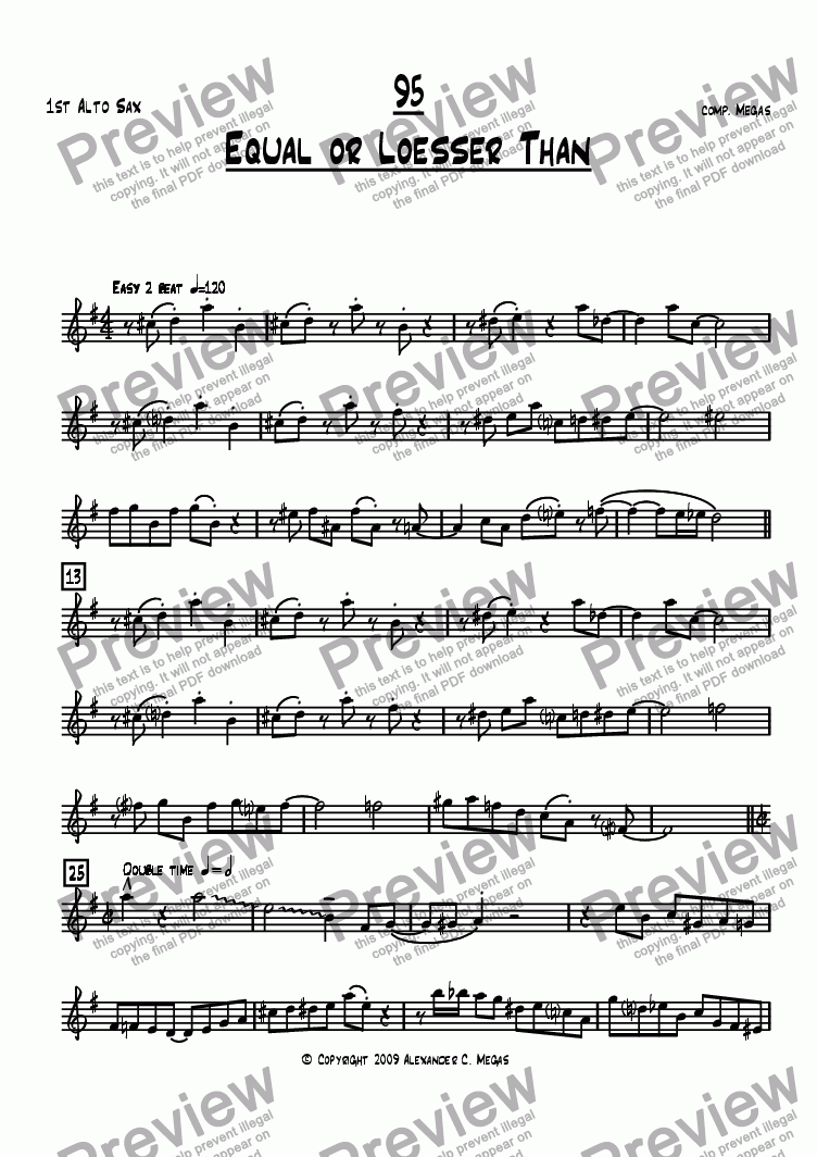 page one of the Alto 1 part from Equal or Loesser Than