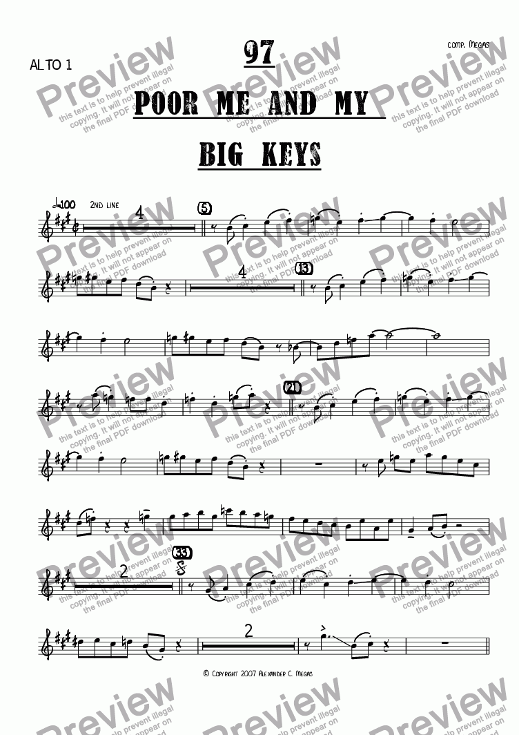 page one of the Alto 1 part from Poor Me and My Big Keys