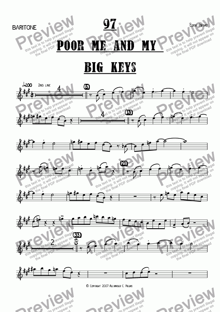 page one of the Bari part from Poor Me and My Big Keys