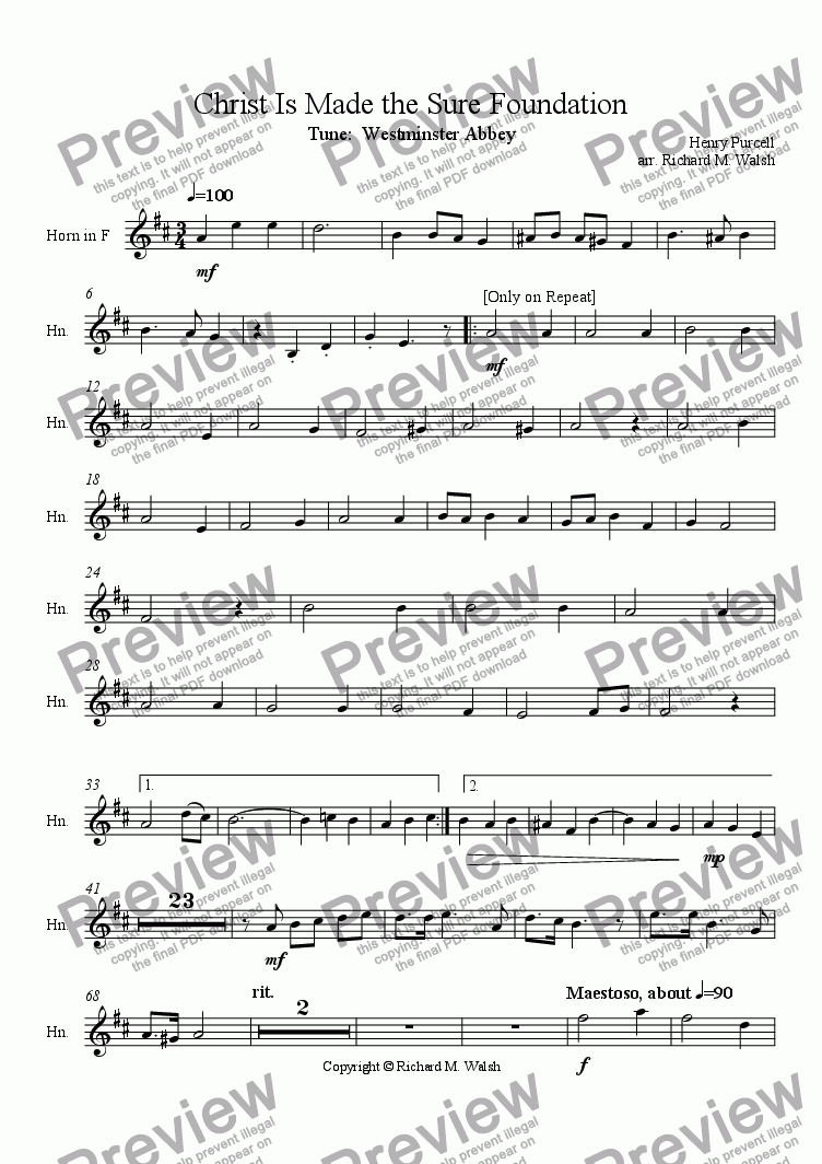 page one of the Horn in F part from Christ Is Made the Sure Foundation
