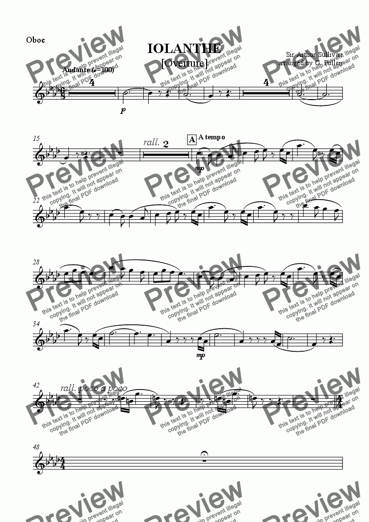 page one of the Oboes part from Overture: Iolanthe (CB)