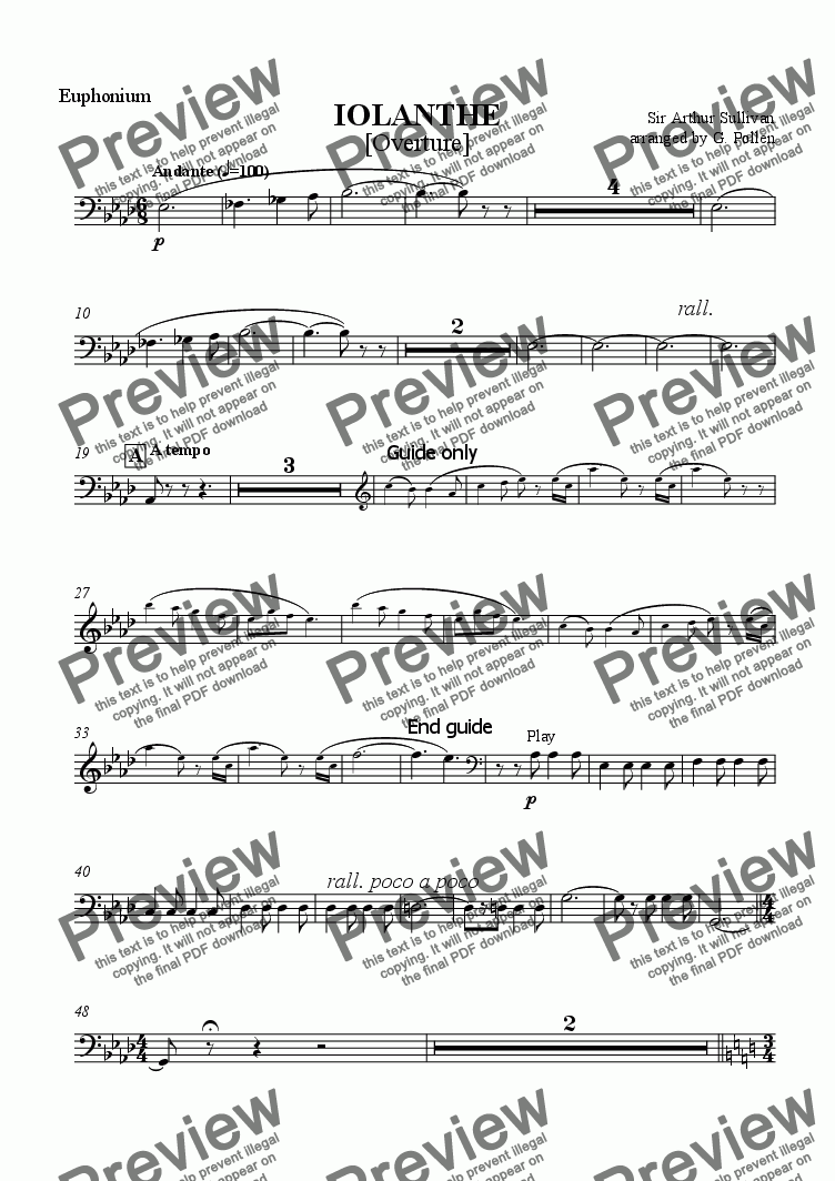page one of the Euphonium part from Overture: Iolanthe (CB)