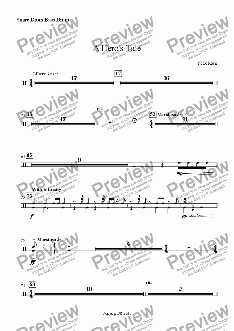 page one of the Percussion 1 (Snare and Bass Drum) part from A Hero's Tale - Part I