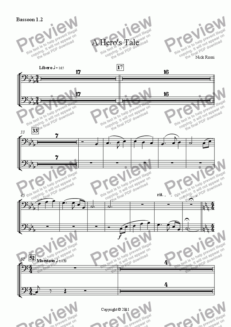 page one of the Bassoon part from A Hero's Tale - Part I