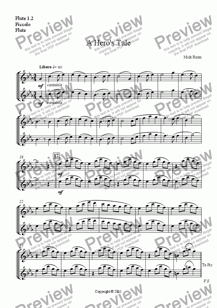 page one of the Flute, Piccolo part from A Hero's Tale - Part I