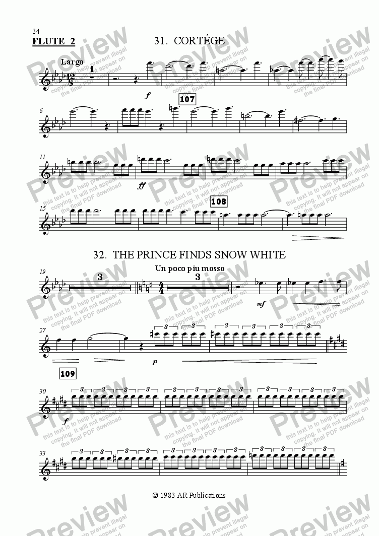 page one of the Flute 2 part from Ballet: Snow White (Act 3 #8 Cortege & Finale)