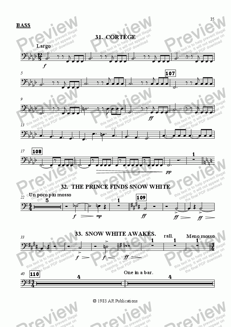 page one of the Bass part from Ballet: Snow White (Act 3 #8 Cortege & Finale)