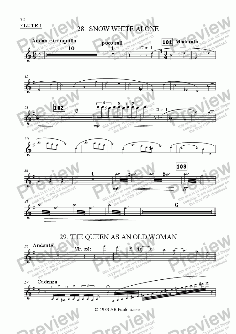 page one of the Flute 1 part from Ballet: Snow White (Act 3 #7 Pedlar Woman)