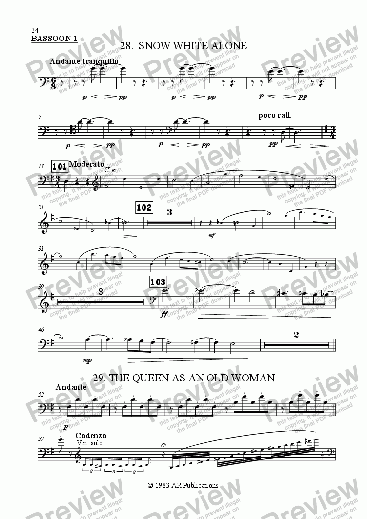 page one of the Bassoon 1 part from Ballet: Snow White (Act 3 #7 Pedlar Woman)