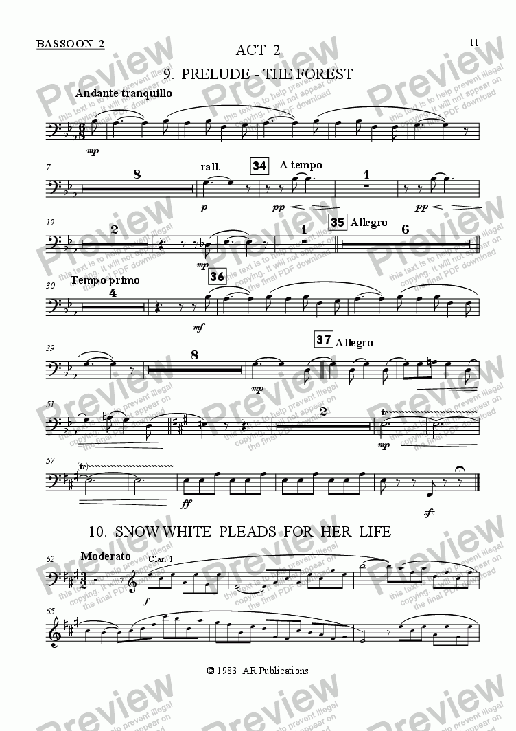 page one of the Bassoon 2 part from Ballet: Snow White (Act 2 #1 The Forest)