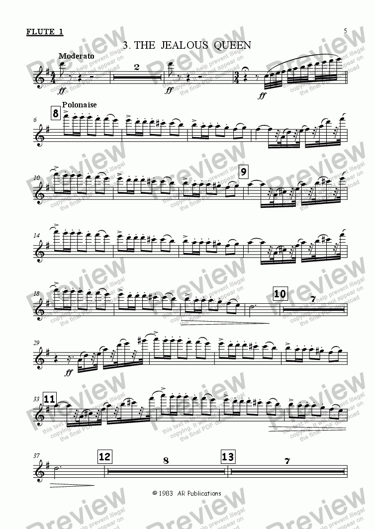 page one of the Flute 1 part from Ballet: Snow White (Act 1 #1)