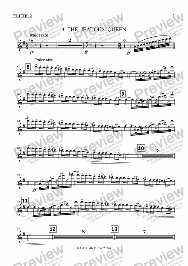 page one of the Flute 2 part from Ballet: Snow White (Act 1 #1)