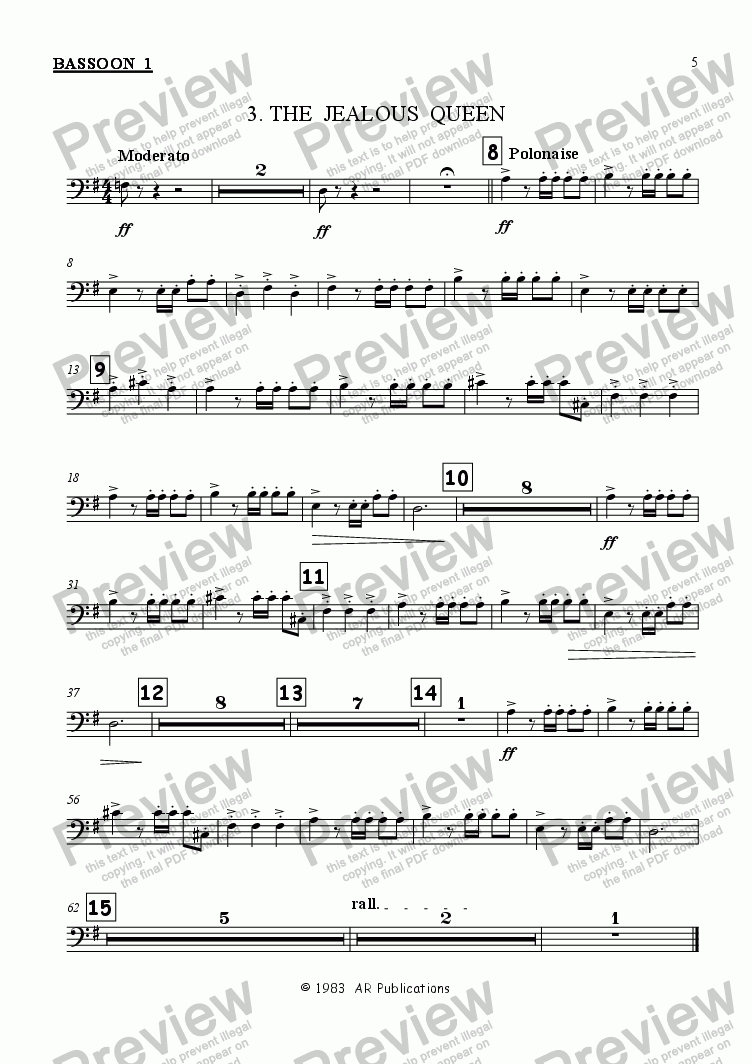page one of the Bassoon 1 part from Ballet: Snow White (Act 1 #1)