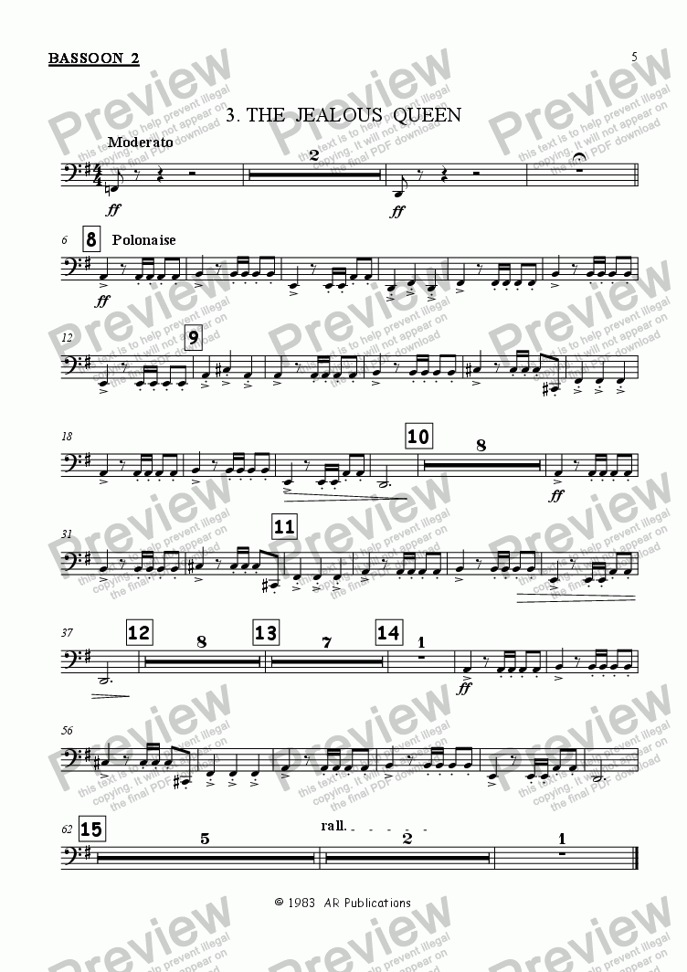 page one of the Bassoon 2 part from Ballet: Snow White (Act 1 #1)