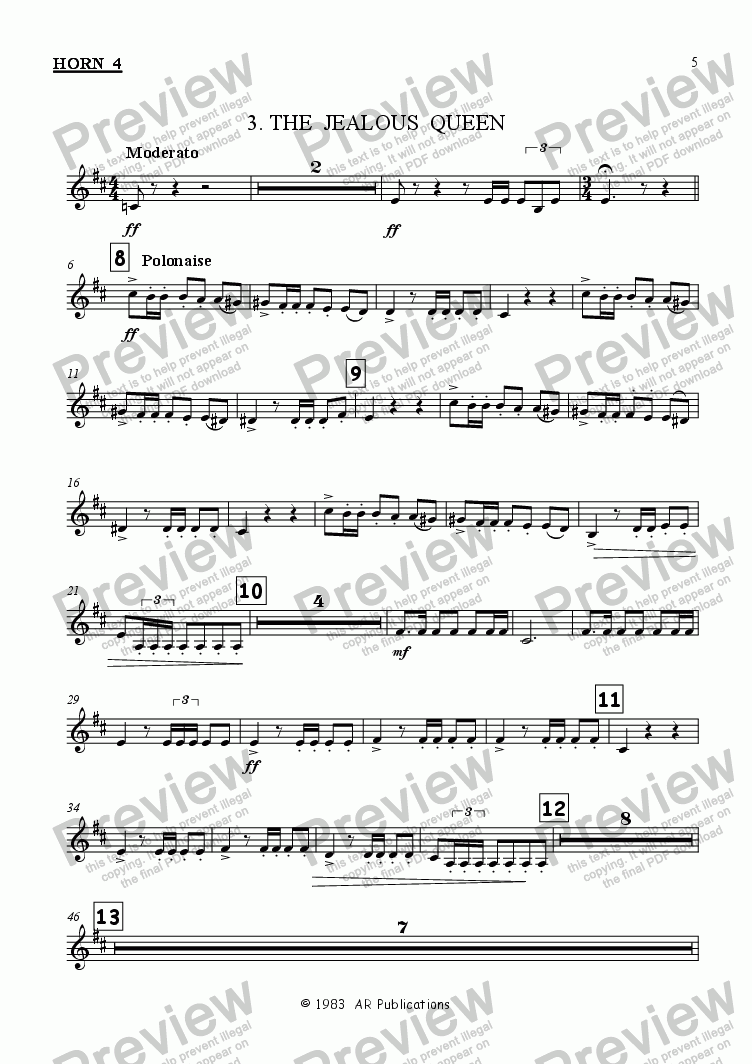 page one of the Horn 4 part from Ballet: Snow White (Act 1 #1)