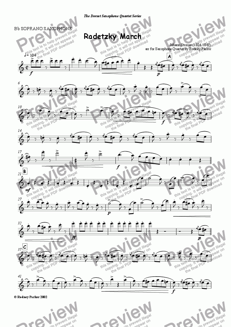 page one of the Soprano Sax part from Radetsky March