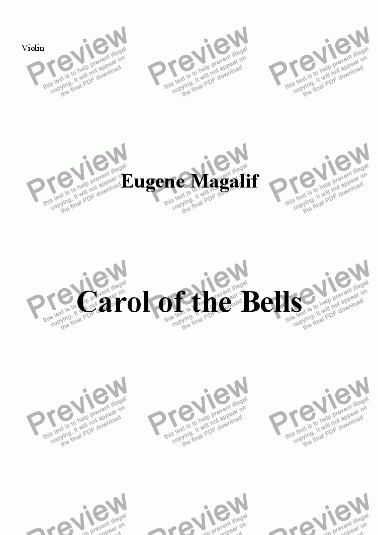 page one of the Violin part from CAROL OF THE BELLS. Flute, Violin, Viola, Cello